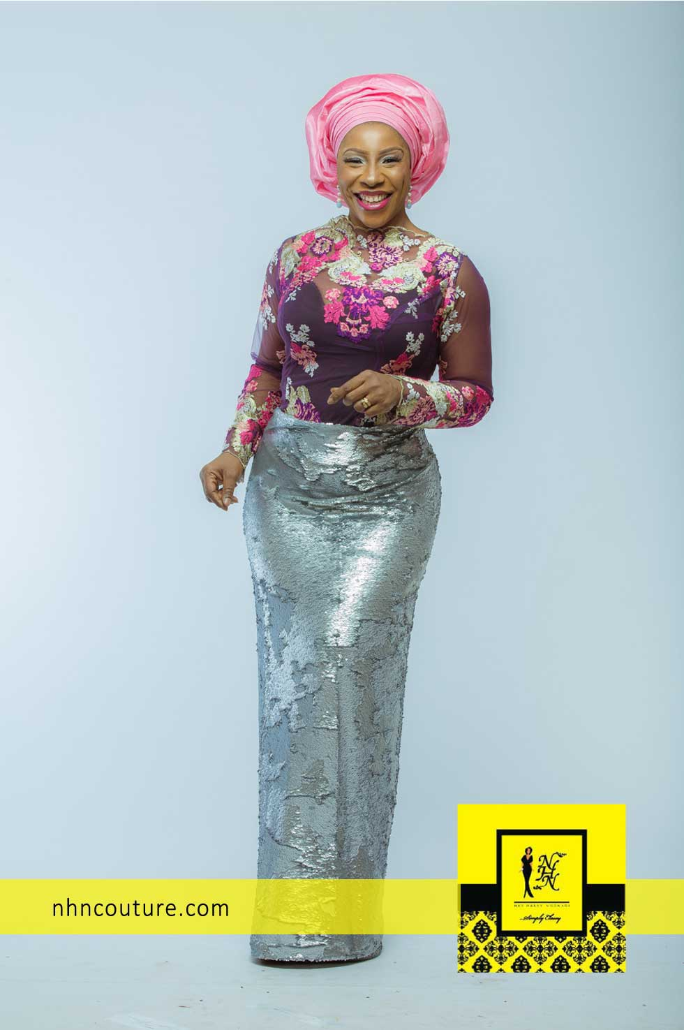 NHN Couture Asoebi Style in Pink and Silver