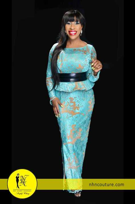 Blue and Nude Skirt and Blouse by NHN Couture 1
