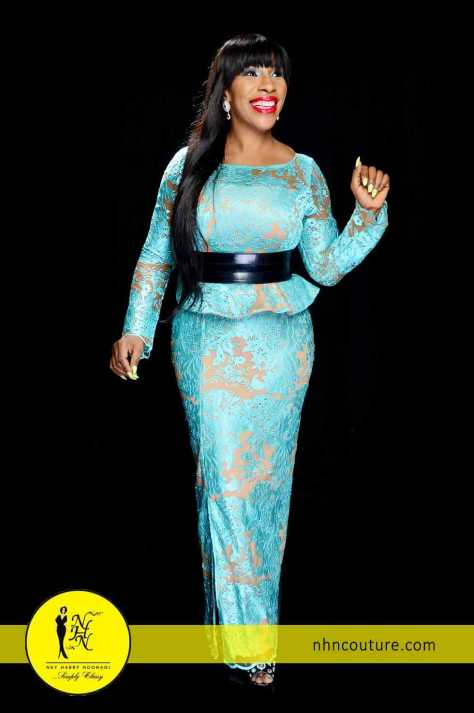 Blue and Nude Skirt and Blouse by NHN Couture 3