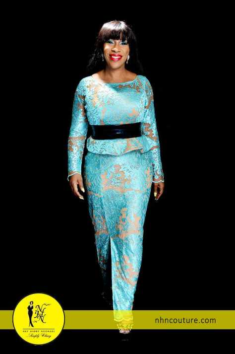 Blue and Nude Skirt and Blouse by NHN Couture 4