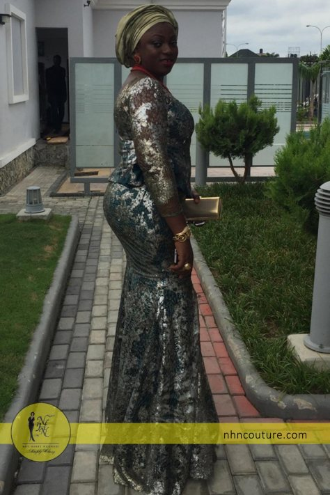 spotted-in-NHN-Couture_Green_top-and-skirt_Asoebi_Nigerian-Traditional-Attire