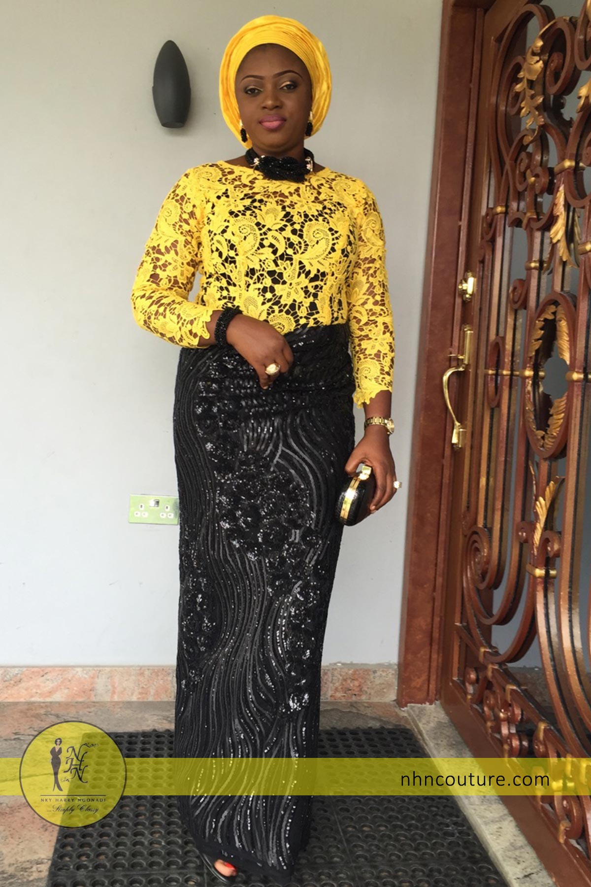 spotted-in-NHN-Couture_Yellow-and-Black-top-and-wrapper_Asoebi_Nigerian-Traditional-Attire