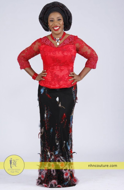 NHN-Couture_red-fitted-top-and-black-fabric-feathers-skirt-2