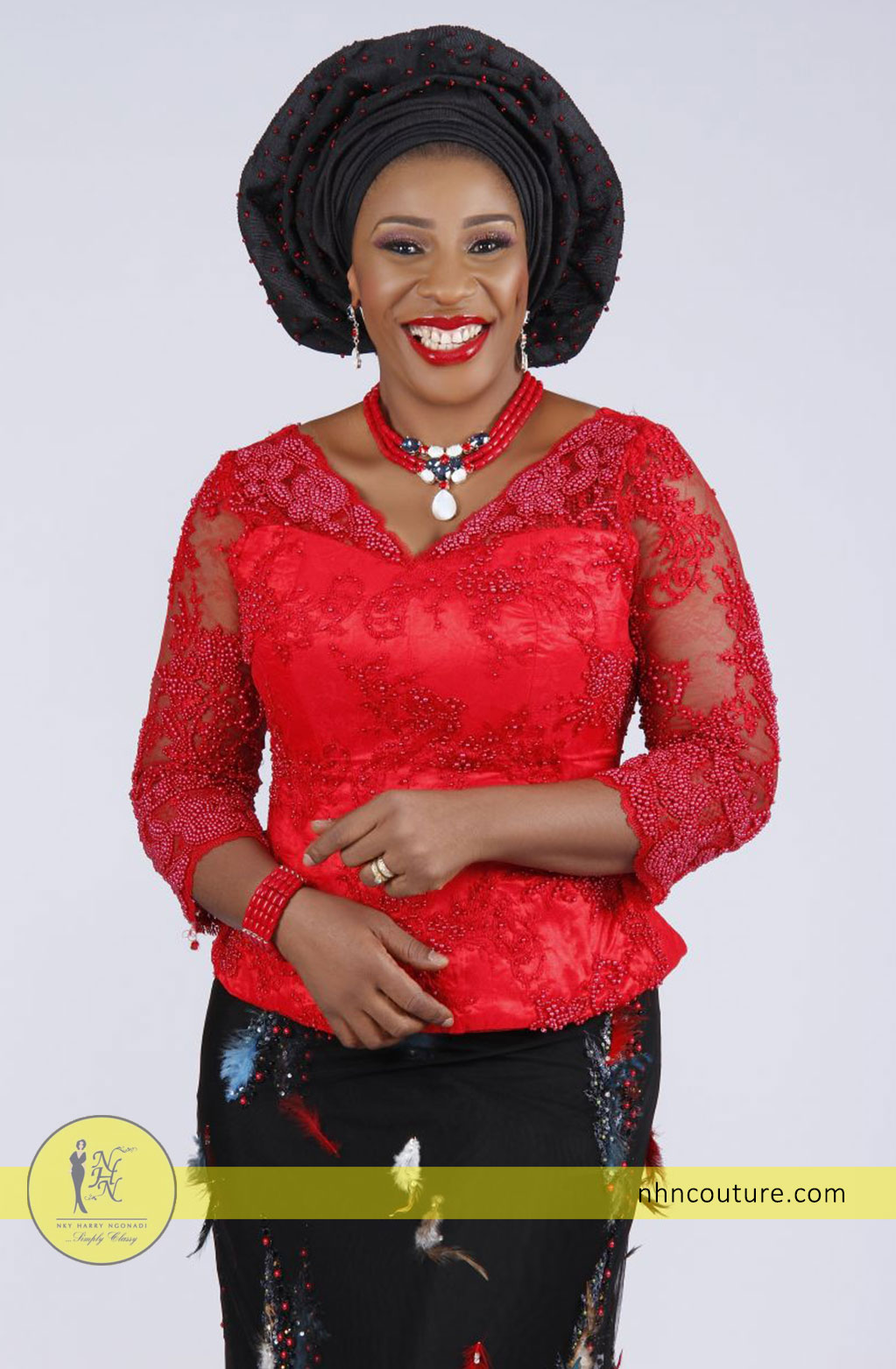 NHN-Couture_red-fitted-top-and-black-fabric-feathers-skirt-3
