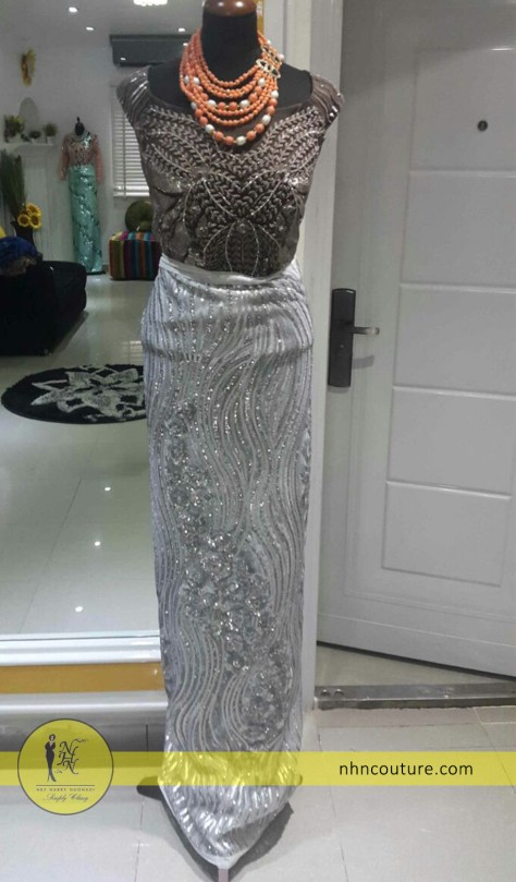 ready-to-wear_fitted-top-and-wrapper_brown and silver_NHN-Couture
